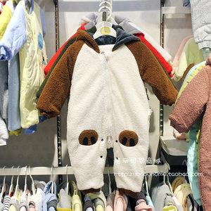 <span class=H>小石头</span>2018冬装新款婴儿泰迪绒对襟连帽连体衣男女童扣裆全开哈衣