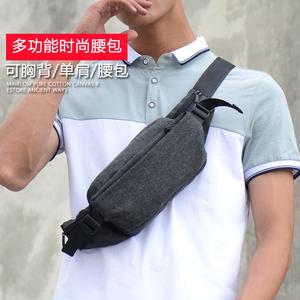 多功能休闲<span class=H>腰包</span>男胸包运动户外斜挎包时尚小背包新款潮版潮男士包