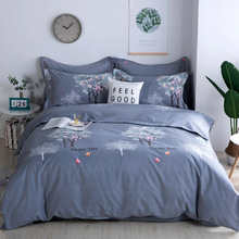 Flower Rhyme Mercury Home Textile Full Cotton Four-piece Set Thickened Pure Cotton Ground Twisted Quilt Set Spring and Autumn Winter 1.8m2m