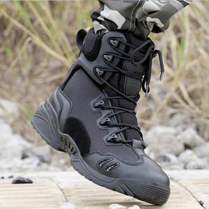 黑色牛皮<span class=H>軍靴</span>男特種兵軍鞋 美軍陸戰靴高幫作戰靴登山戰術靴透氣