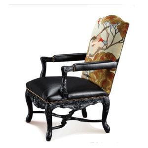 <span class=H>休闲椅</span>黄色美式进口奢华 单人沙发印花欧式高端餐椅木桦木美式乡