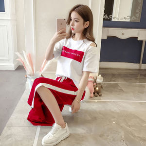 单件/套装 运动套装女学生韩版夏季时尚休闲两件套女装2019新款潮