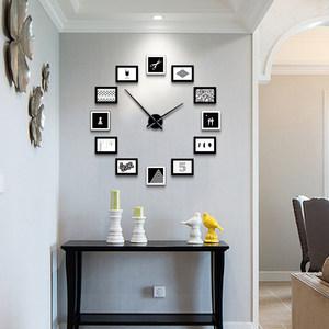 北欧客厅创意相框挂钟现代简约个性<span class=H>diy</span>照片墙钟表卧室静音石英钟