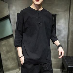 夏季上衣男中国风短袖t桖肥佬大码衬衣七分袖民族中式中袖男装潮