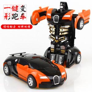 儿童男孩玩具变形金刚5 大黄蜂一键碰撞变身PK惯性汽车机器人热卖