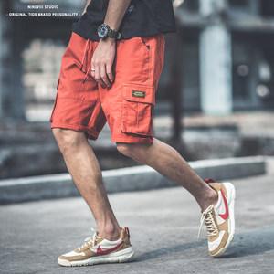 夏季日系潮牌多口袋工装裤男 hiphop街头宽松直筒嘻哈五分<span class=H>短裤</span>男