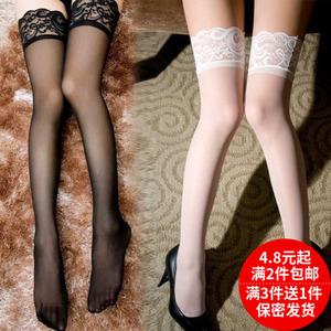 春夏季丝袜情趣薄透性感高筒袜长筒袜蕾丝花边女防滑过膝黑丝袜