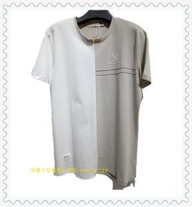 创意个性稀奇广州店搞怪<span class=H>袖口</span><span class=H>拉链</span>衫英文线条拼接款短袖夏季棉T衫