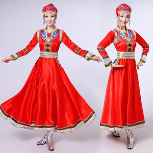 新款蒙古舞蹈服演出服<span class=H>女装</span>少数<span class=H>民族</span>表演<span class=H>服装</span>蒙族舞蹈演出<span class=H>服装</span>