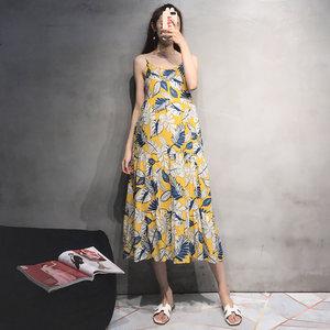 孕妇夏装吊带连衣裙2019时尚新款无袖打底印花长裙夏季宽松孕妇裙