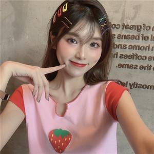 2019夏季女装新款日系V领宽松显瘦撞色<span class=H>草莓</span>印花短款上衣短袖<span class=H>T恤</span>潮