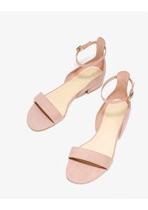 2018韩版夏季一字扣带女鞋简约低跟圆头裸色一片式露趾<span class=H>凉鞋</span>女潮