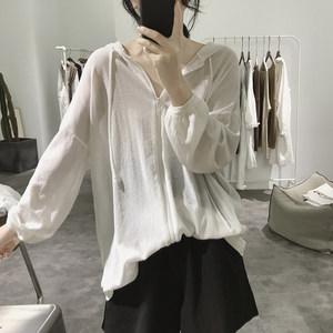 冰丝针织衫外套女士夏季宽松显瘦戴帽拉链<span class=H>开衫</span>薄款长袖防晒衫上衣