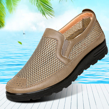 Old Beijing Summer Middle-aged and Old Men Leisure 40 Dad 50 Years Old Men's Mesh-mesh Cloth Shoes