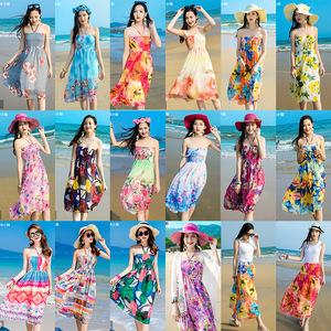 沙滩裙女海边度假夏2017新款<span class=H>雪纺</span>吊带海滩裙中长款波西米亚<span class=H>连衣裙</span>