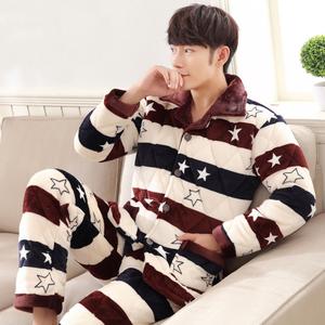 男士睡衣男冬季珊瑚绒加厚加棉三层夹棉保暖棉袄法兰绒家居服套装
