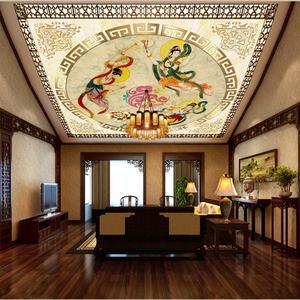3D无缝壁画墙纸天顶酒店客厅中式背景天花吊顶敦煌飞天仙女