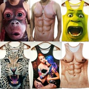 搞笑猩猩3d猴子汗<span class=H>背心</span>胖加肥大码肌肉<span class=H>男装</span>立体动物图案无袖打底衫