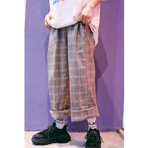 日系复古文艺风格子裤慵懒阔腿长裤 ins韩国街头男女情侣格纹<span class=H>裤子</span>