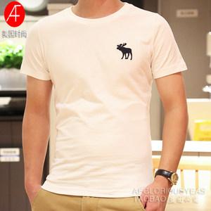 美国热卖夏季新款纯色af短袖T恤男圆领修身体恤衫青年纯棉白色t恤