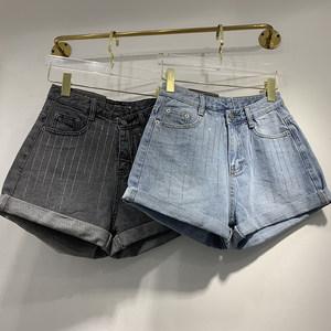 iez牛仔<span class=H>短裤</span>女韩国2019夏季款高腰显瘦刺绣条纹卷边阔腿休闲热裤