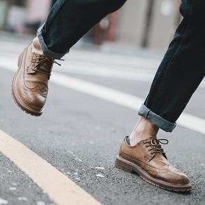 英伦小皮鞋男学生休闲鞋男百搭男士<span class=H>鞋子</span>男<span class=H>布洛克</span>雕花<span class=H>男鞋</span>春季潮鞋