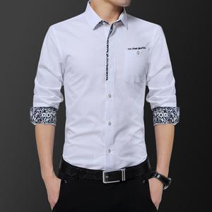 春夏白衬衫男长袖拼色花纹短袖衬衣