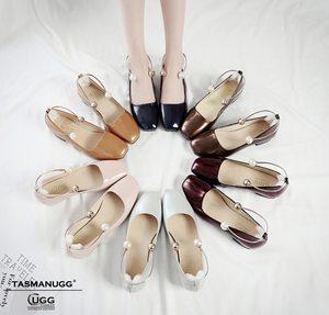 澳洲代购  国内现货  <span class=H>TASMAN</span>珍珠脚环单鞋 真牛皮 方跟
