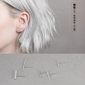 一字超小<span class=H>耳钉</span>小巧迷你耳骨钉女纯银韩国个性气质简约耳环极简简单
