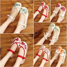 New style of Chinese clothes, shoes, old Beijing cloth shoes, women's shoes with white flat sole embroidered shoes