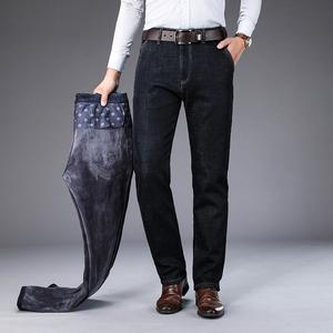 商务休闲加绒宽松直筒大码牛仔裤男