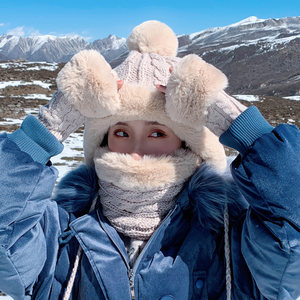 针织毛线<span class=H>帽子</span>女秋冬季雷锋帽韩版可爱加绒加厚护耳冬天手套三件套