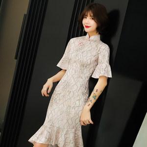 改良旗袍2019新款夏季粉色少女日常性感鱼尾新式年轻中长款连衣裙