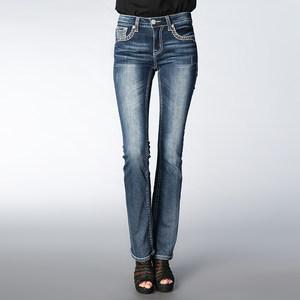 新品弹力棉水晶<span class=H>牛仔裤</span>女刺绣中低腰<span class=H>铅笔</span>小脚长裤钉珠休闲性感裤