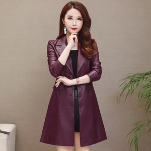 <span class=H>皮衣</span>女外套中长款2019春装新款韩版宽松大码显瘦小个子PU皮风衣女