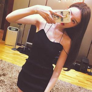 夜店女装性感低胸吊带礼服露肩针织打底裙裹胸紧身包臀显瘦连衣裙