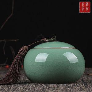 哥窯汝窯開片<span class=H>茶葉罐</span>大號一斤裝普洱茶罐密封陶罐香粉罐醒包郵
