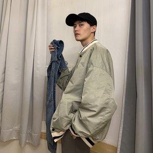 cuibuju/19ss 韩版春款宽松拼接棒球服男假两件外套可拆牛仔<span class=H>夹克</span>