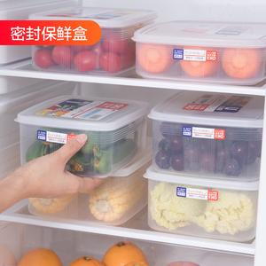 日本进口冰箱保鲜盒<span class=H>收纳盒</span>面条盒长方形塑料密封盒食品冷冻储物盒