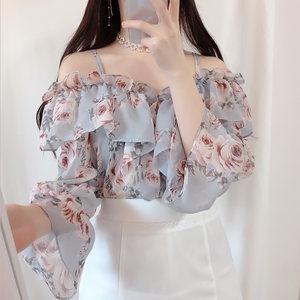 一字肩吊带上衣女夏装2019新款洋气小衫碎花雪纺衫荷叶边<span class=H>衬衫</span>短袖