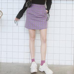 2019春夏夏新款高腰ins超火的半身裙女显瘦包臀a字格子<span class=H>短裙</span>有口袋