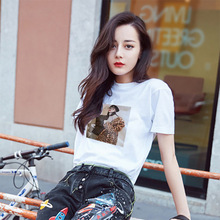 Summer 2019 New Women's Wear Korean Version Loose Fashion Super Spark Printed Short Sleeve T-shirt Female 18 Hot Mill
