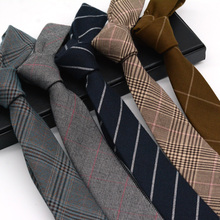 Korean version of narrow cotton and linen tie men's 6cm formal business leisure style Vocational College style English style trend