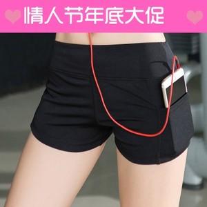 速干弹力<span class=H>运动</span><span class=H>短裤</span>女显瘦侧口袋夏季<span class=H>单</span>层跑步瑜伽紧身健身训练热裤