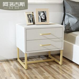 北欧式<span class=H>简约</span>现代床头柜铁艺创意白色床边柜<span class=H>简易</span>卧室收纳黑色储物柜