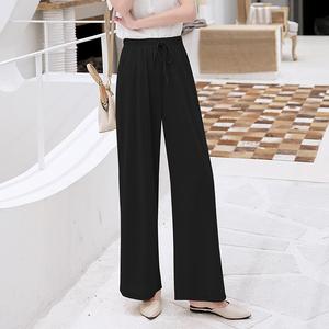 冰丝垂感阔腿裤女夏季坠感显瘦学生韩版高腰宽松直筒雪纺针织长裤