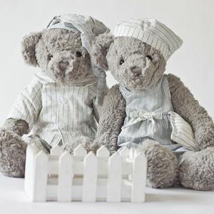 正版dabron公仔泰迪熊一对灰色小熊玩偶毛绒玩具送闺蜜女生日礼物
