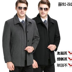 品牌清仓秋冬款中老年羊绒夹克男短款带领爸爸装羊毛呢子大衣外套