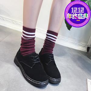 春秋<span class=H>女鞋</span>鞋鞋英伦学院风系带磨砂小皮鞋圆头大头鞋