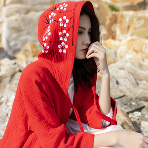 绣花大红色斗篷外套女春秋中长款大衣宽松棉麻防晒衣茶卡盐湖旅游